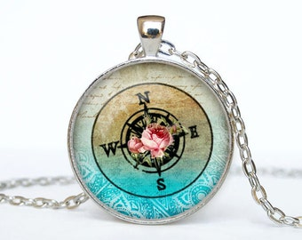 Compass necklace vintage compass pendant compass jewelry