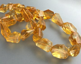 AAA Honey Citrine Nuggets, 14x15MM, 7 Pieces, Deep, Rich Golden Honey Color, Faceted Nuggets, Top Quality, Vitreous Luster