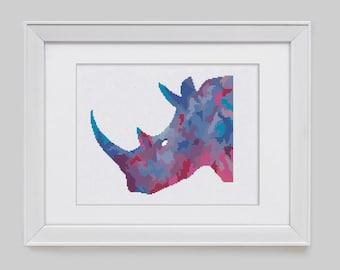 Modern cross stitch pattern, rhino counted cross stitch pattern, modern rhino counted cross stitch, rhino cross stitch pdf pattern
