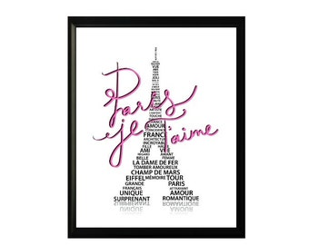 PINK Eiffel Tower PARIS subway art - Paris Je Taime - Paris I Love You romantic french print 8X10 digital download only 1.00