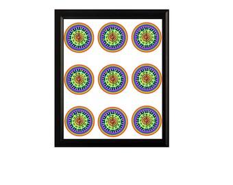 CHAKRA MANDALA REIKI Healing Cleansing Balancing Mandala Sheet of Nine to cut out & place on your body or frame as Healing Art Digital Print