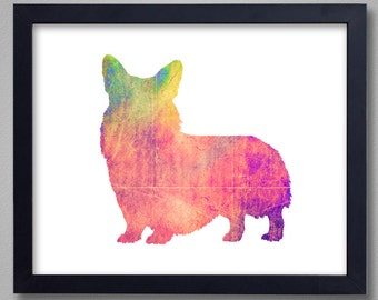 Corgi Art Print - Pembroke Welsh Corgi - Proceeds to Shelters - Dog Wall Art - Abstract Digital Animal Painting