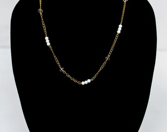 Pink and Pearl Chain Necklace