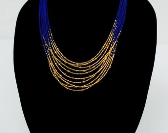 Navy and Gold Multi Strand Necklace