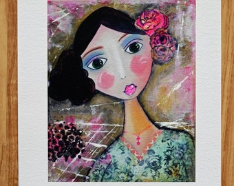 "Giclee Art Print - Giclee print - Print - of the original painting ""ROSIE"" -  Portrait of a woman"