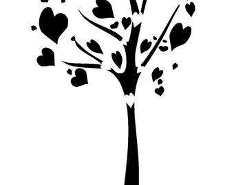 "5.8/8.3"" Heart tree stencil.  A5."