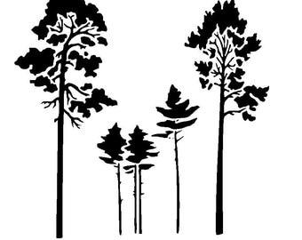 """12/12"""" Tree stencil design 2."""