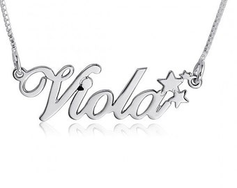 Cursive Name Necklace Silver name Pendant Chain Cursive Font Necklace with name on necklace Christmas Gift Star Necklace Silver Name Plate
