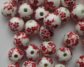 20 X Red Hand Printed Round Porcelain Ceramic Flower/Floral Beads 12mm