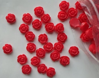 10 x Red Flower Flat Back Resin Rose Cabochons Beads Kitsch 12mm Jewellery Craft - A16