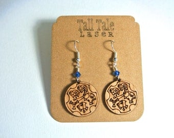 "Circular Gallifreyan ""Wibbly Wobbly Timey Wimey Stuff"" Earrings With TARDIS Blue Crystal"