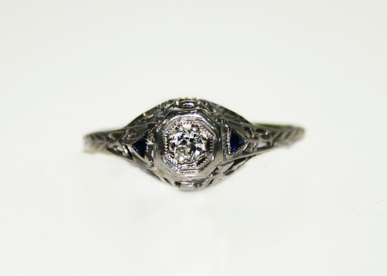 antique filigree 18k white gold ring