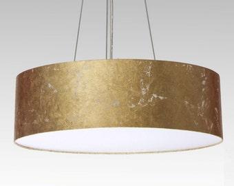 pendent lamp D.60 cm, gold leaf optics