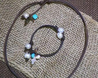 Reversible Twin Pearl Leather Bracelet