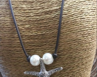 35mm  Starfish Pendant & Freshwater Pearls on Leather Necklace