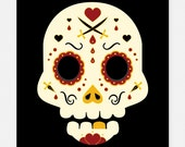 Day of the Dead Sugar Skull Pirate 5x7 Art Print by Odds And Aliens