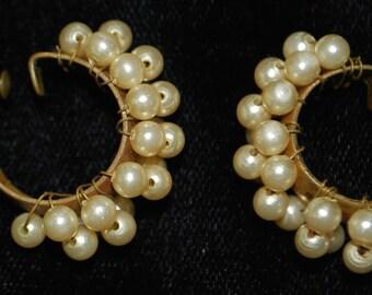 Handmade vintage pearl clip on earrings