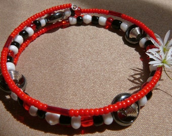 Beaded Memory Wire Bracelet - Red, White, and Black