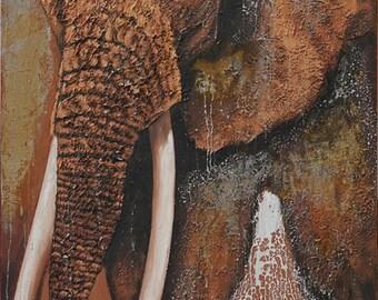Elephant picture. Acrylic on canvas. 120 x 80 cm