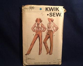 Kwik Sew 920 Womens Pants sewing pattern Uncut Size 14 16 18 20