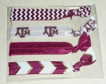 Texas A&M University Fold Over Elastic Hair Ties/ Headbands