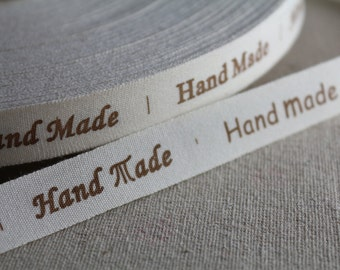 """2 Meters of 1.5 cm (~ 0.6"""") Wide Zakka Cotton Ribbon/Sewing Tape/ Cotton Label with """"Hand Made"""" Print"""