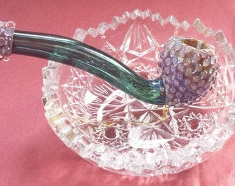 "Glass Tobacco Pipe  - ""Teal Passion Sherlock"""