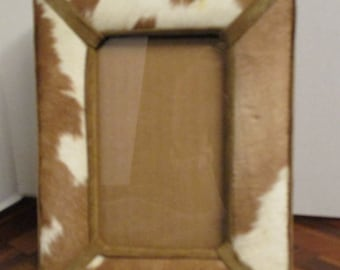 Vintage Cow Hide Picture Frame, Suede trim, 5 1/2 x 3 1/4 Inside Measure, Horizontal or Vertical stand