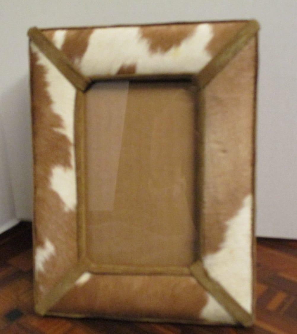 vintage cow hide picture frame suede trim 5 1 2 x 3 1 4. Black Bedroom Furniture Sets. Home Design Ideas