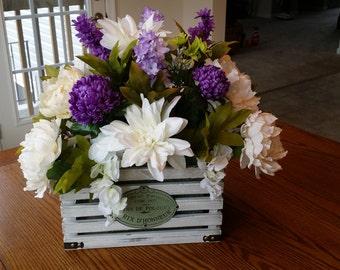 Purple and White Wedding Centerpiece