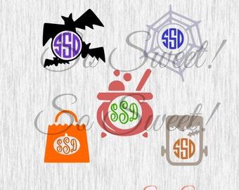 Halloween Monogram SVG / DXF Frames Bats Spiderweb Cauldron Frankenstein Monster Treat Bag Svg Halloween Silhouette Cut File Monogram