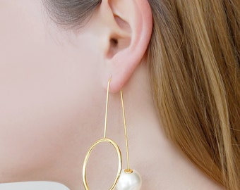 Gold Drop Pearl Earrings - Statement Drop Earrings, Pearl Jewelry