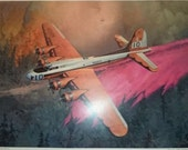 Print of B-17 Batmobile by Jay Mullins fighting a forest fire