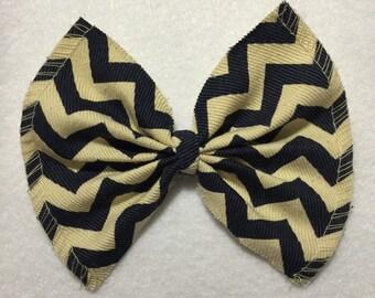 Striped Denim Hair Bow
