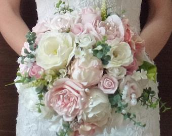 Bespoke Vintage Pastel Blush Dusky pink and ivory rose and peony wedding bridal bouquet country style