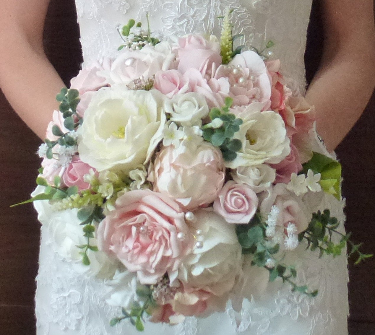 Pastel Wedding Flowers: Bespoke Vintage Pastel Blush Dusky Pink And Ivory Rose And