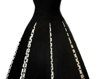 Elizabeth Stone, 'Rosetta' Black Audrey Hepburn Style Rockabilly, Swing Pin Up Plus Size Custom Made Dress