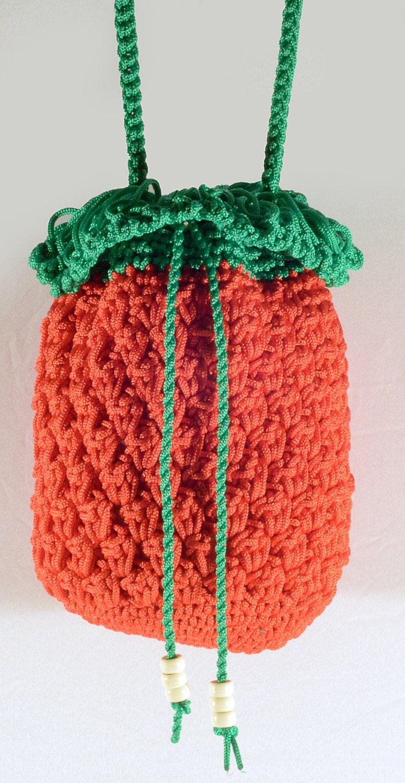 Crochet Cross Body Bag Pattern : The Red Pineapple Bag Crochet Cross-body Bag Red Green by NikieArt