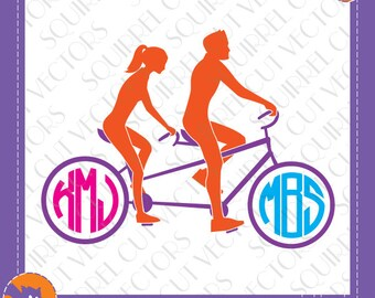 Tandem Bicycle Couple Monogram Frame SVG DXF EPS Cutting files