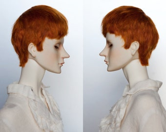 Carrot red short angora wig for BJD (8-9 inch)