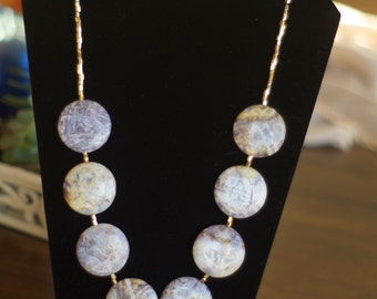 Elaines Designs- Tehridite Natural Stone Necklace with Gold-filled, Wire Wrapped Pendant