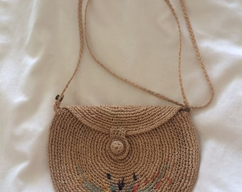 Vintage Boho Woven Natural Straw Purse with flowers