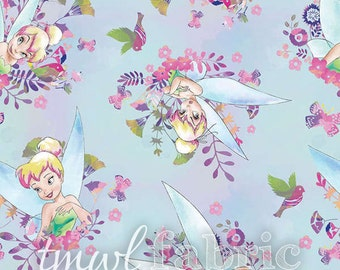 Woven Fabric - Disney Fairy Tinkerbell Tink Watercolor - Fat Quarter Yard +