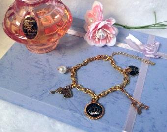 Four Leaf Clover Locket Gold Charm Bracelet
