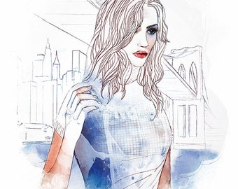 Alone in the City - Art Print Wall Decor Watercolor Painting Fashion 1and4 Studio Woman Poster Prints Portrait Blue Drawing