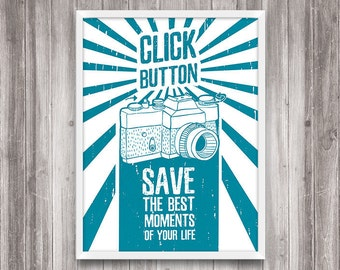 "Typography Art ""Save the best moment"" Print. Printable art. Wall art. Grunge poster. Home Decor. Hipster room decor. Retro. Сamera art"