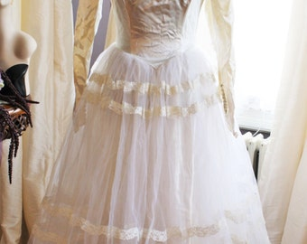 Gown #352 ~ 1950's (c. 1956) Tulle, Lace & Beaded Slipper Satin Bridal Tea-Length Dress