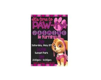 PRINTABLE Girl's Paw Patrol Birthday Invitation