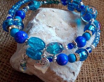 Méditerranée memory wire wrap bracelet