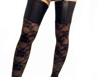 Black lace stockings with spandex top